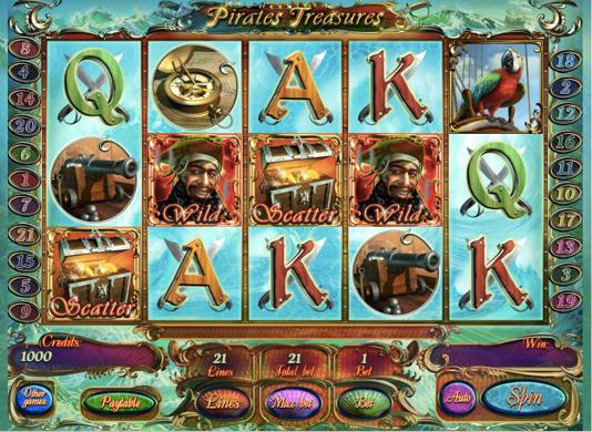 Игровые автоматы онлайн на деньги  Pirates Treasures HD